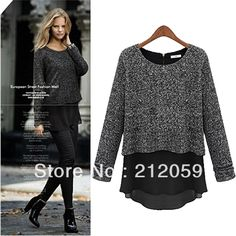Sweaters 2014 women fashion autumn plus size women's casual long sleeve woman knitted chiffon outerwear loose tops  $24.94