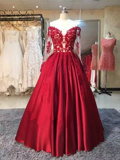 Burgundy Evening Dress 2017,Evening Dresses,Vintage Prom Dress Ball Gown,Lace Appliqued Evening Gown,Real Made Satin Prom Dresses,Long Sleeve Wedding Party Dress