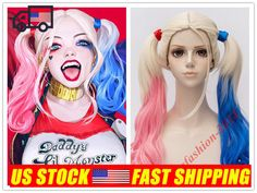Blue Pink With Blonde Long/Short Wavy Cosplay Wig for Mix Blue and Pink Gradient #Aicos #FullWig