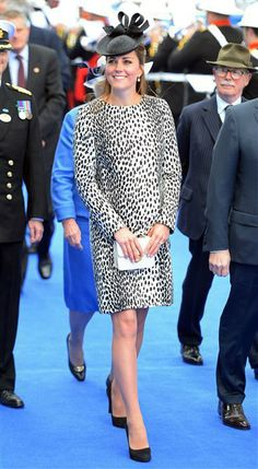 It may have been Kate's last voyage sans Prince William, but that didn't stop her from dressing up her baby bump. The duchess wore a black-and-white animal-print coat by Hobbs at the ribbon-cutting ceremony to launch the Royal Princess in Southampton, England, on June 13, 2013. The stylish royal topped off her look with a black ribbon-shaped fascinator.