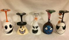 Nightmare Before Christmas wine glass candle holder set. #NBC #crafts #wineglasses #Halloween #NightmareBeforeChristmas #tealights #candleholder