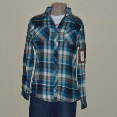 Ladies cottage escape plaid flannel shirt. NWT Ocean blue plaid flannel 100% cotton. Never worn. Legendary Whitetails Tops Button Down Shirts