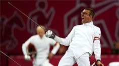 Adam Marosi of Hungary celebrates winning a bout in the fencing during the Men's Modern Pentathlon on Day 15 of the London 2012 Olympic Games