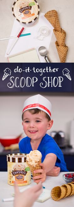 """Come on in — the family ice cream parlor is open for business! Celebrate togetherness with a do-it-together scoop shop featuring Dreyer's Slow Churned Simple Recipes, made with real, simple ingredients. Have kids gather a notepad and markers while you prep the Caramel Delight ice cream, waffles cones and fresh fruit toppings. Craft soda jerk hats out of paper and tape, and use the notepad for ice cream """"orders."""" They'll love helping in the kitchen while the family enjoys a sweet treat…"""