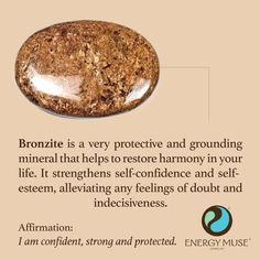 Bronzite is a very protective and grounding mineral that helps to restore harmony in your life. It strengthens self-confidence and self-esteem, alleviating any feelings of doubt and indecisiveness. #crystals #bronzite #stones #healing