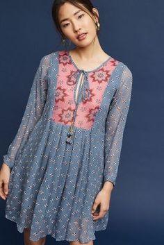Rutika Peasant Dress By Kopal Dress Neck Designs, Designs For Dresses, Blouse Designs, Stylish Dresses For Girls, Casual Dresses, Frock Fashion, Fashion Dresses, Indian Designer Outfits, Designer Dresses