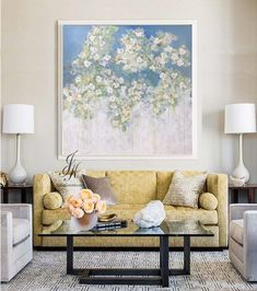 SALE! Flower Painting Original Acrylic Abstract Flower Tree Painting On Canvas by Julia Kotenko