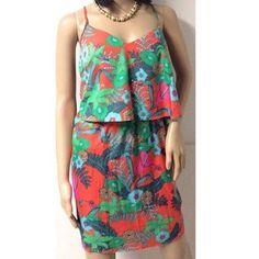 Bar III Tropical Layer Dress So cute! New With Tags Bar III Dresses Midi
