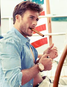 Scott Eastwood, Clint Eastwood's hunky son models in Town & Country. Definitely his fathers son!!