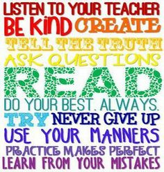 listen to your teacher be kind create... - Google Search