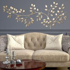 Decorating Kitchen Create a soft and textured effect in your decor by choosing this Stratton Home Decor Brushed Gold Flowing Leaves Wall Decor. Handmade Home Decor, Unique Home Decor, Cheap Home Decor, Creative Wall Decor, Easy Wall Decor, Cheap Wall Decor, Tree Wall Decor, Elegant Home Decor, Creative Walls