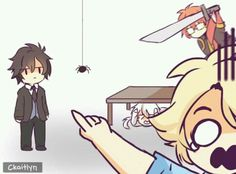 Spider!!!!!< This is it. This is the picture that convinced me Jumin and Seven are the ones for me. One is the calm voice of reason that would probably make the maid release outside, and Seven would distract me with his antics and make me laugh. I can't decide if I would be Zen or Yoosung when seeing a spider