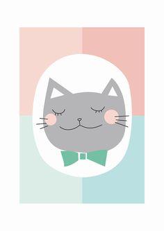 Nursery poster - Kids Wall Art Nursery Decor - Grey cat - PHILIBERT - Print of my original illustration