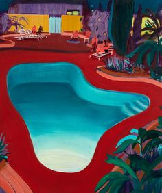 "mrkiki: "" Jules de Balincourt Valley Pool Party, 2016 Oil on panel 61 x 50.8 cm 24 x 20 in VIA MORE """