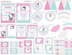 Hello Kitty Printable Party Set    inviations, decorations, cupcake wrapper, cupcake toppers, fancy labels, tags, signs, banner, party hat and more.    The Printable Party Shop  Access tons of printable designs all in one place!  www.printablepartyshop.com