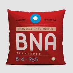 f750ccfa96d BNA - Throw Pillow - airportag Vintage Luggage