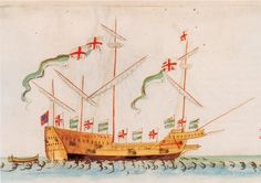 The galleass 'Swallow', circa 1546 Source: The Anthony Roll of Henry VIII's Navy, Pepys Library