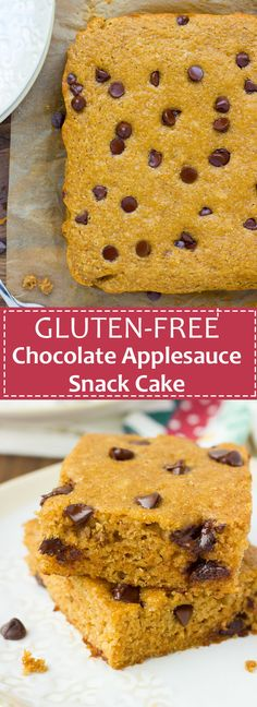 Gluten-Free Chocolate Applesauce Snack Cake! Lightly sweet, spiced cake made with a wholesome grain-free flour blend. {Dairy-Free}