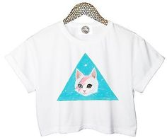 DAVID BOWIE CAT CROP TOP TRIANGLE HIPSTER FUN TUMBLR RETRO T SHIRT WOMENS STYLE