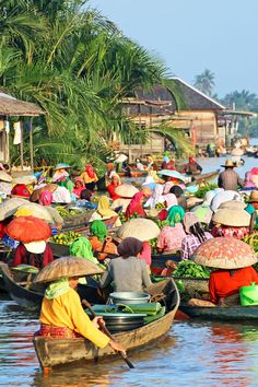 Held daily for over 500 years on the Martapura River, Banjarmasin, Kalimantan, the colourful and vibrant Lok Baintan floating market  is widely regarded as the most authentic of its kind in SE Asia. For more information, head to http://www.roamindonesia.com/kalimantan-borneo/south-kalimantan/