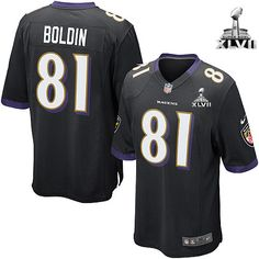 NFL NIKE Baltimore Raven's #81 Anquan Boldin Black Alternate With Super Bowl Patch Youth Elite Jersey   $79.99
