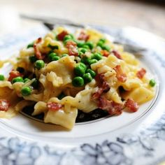 Pasta Carbonara Recipe Main Dishes with pasta, thick-cut bacon, onions, garlic, eggs, grated parmesan cheese, heavy cream, salt, peas
