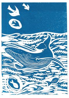 Humpback Whale Lino Print - this one is available from my shop as a handprinted card ©JessicaWinnieIllustrations2015