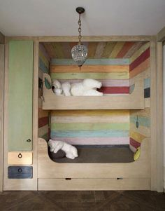 Use this idea for the bunk room! Small bunk over a bigger bunk with a trundle underneath. Guest room maybe? Bunk Beds Built In, Wood Bunk Beds, Bunk Beds With Stairs, Kids Bunk Beds, Kids High Beds, Wooden Beds, Loft Spaces, Kid Spaces, Bunk Rooms