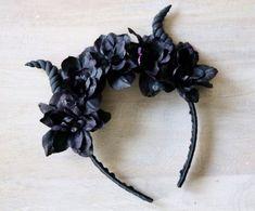 This item is unavailable Horn Headband, Diy Headband, Floral Headbands, Ear Headbands, Black Headband, Maleficent Halloween, Maleficent Costume, Diy Halloween Headbands, Halloween Costumes For Kids