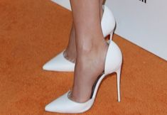 "Reese Witherspoon in Unflattering Dress and White Christian Louboutin ""Iriza"" Pumps"