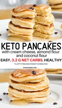 Fluffy Keto Pancakes Cream Cheese Pancakes – Oh So Foodie FLUFFY KETO PANCAKES with Cream Cheese, Almond flour and Coconut Flour with only g net carbs. Easy 6 ingredient pancakes for breakfast! Coconut Flour Pancakes, Low Carb Pancakes, Keto Cream Cheese Pancakes, Gluten Free Pancakes, Breakfast Desayunos, Breakfast Recipes, Breakfast Casserole, Recipes Dinner, Breakfast Options