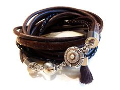 BLOSSOM - Wickelarmband - dunkelbraun-silbern Messing, Bracelets, Leather, Jewelry, Fashion, Leather Cord, Dusty Pink, Dark Brown, Beads