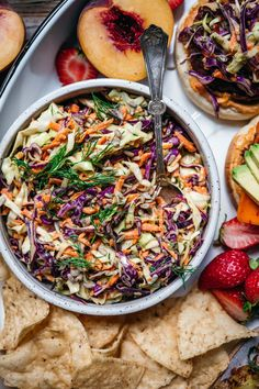 This classic, easy vegan coleslaw with a tangy mayo tahini dressing is a summer bbq essential. It only takes about 15 minutes to make and pairs perfectly with veggie burgers! Vegan Coleslaw, Tahini Dressing, Summer Bbq, Vegan Cheese, Plant Based Recipes, Raw Vegan, Summer Recipes, Family Meals, Veggies