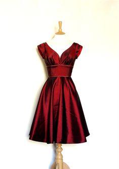 Cranberry Taffeta Sweetheart Swing Dress