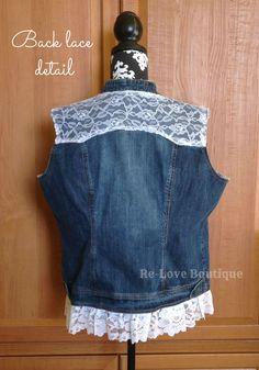 Denim Vest with Wedding Dress Lace Denim Vests, Denim Jackets, Jean Jackets, Lace Jacket, Denim And Lace, Lace Insert, Indie Brands, Refashion, Lace Trim