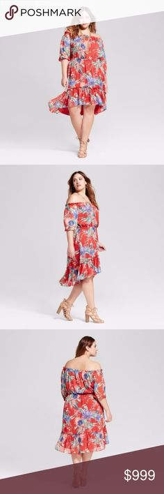 "Ava + Viv Red Floral Off Shoulder Dress Size 3X This Ava + Viv dress is new without the tags attached. 100% polyester. Fully lined. Armpit to armpit 26"". Length varies from 38""-42"". The price is firm unless bundled. Ava + Viv Dresses Midi"