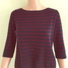 3/4 sleeve 100% cashmere sweater Beautiful blue and magenta 100% cashmere sweater. 3/4 sleeve. Great with jeans or dress it up for work. Gorgeous. Demylee Sweaters Crew & Scoop Necks