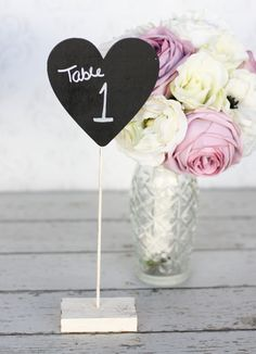 Wedding Table Number Chalkboard Heart Signs Rustic Decor SET of 12. $120.00, via Etsy.