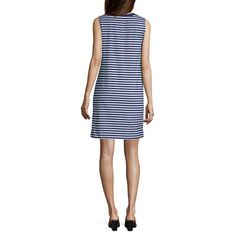 Liz Claiborne Weekend Sleeveless Striped Shift Dress Liz Claiborne, Spandex Fabric, Mid Length, Crew Neck, Dresses For Work, Pullover, Sleeves, Clothes, Color
