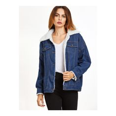 Blue Drop Shoulder Sherpa Lined Denim Jacket ($27) ❤ liked on Polyvore featuring outerwear, jackets, blue, denim jacket, blue jean jacket, blue denim jacket, blue jackets and single breasted jacket