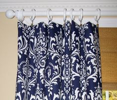 Blue Curtains Blue Damask Curtains Navy by Cathyscustompillows Blue Kitchen Curtains, Navy Blue Bathroom Decor, Navy Blue Bathrooms, Bathroom Wall Decor, Navy Blue Shower Curtain, Blue And White Curtains, Indigo Curtains, Chevron Curtains, Drapery Panels