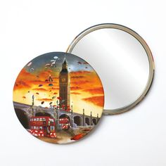 Round Pocket Makeup Mirror - Big Ben and Red Bus London Big Ben London, Red Bus, Free Black, Black Mirror, French Artists, Small Gifts, Pocket, Makeup, Prints