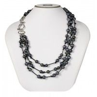 """Sterling Silver Three Row 8-10mm Black Ringed Freshwater Cultured Pearl on Black Leather 18"""" Necklace"""