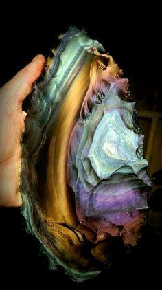 Spectacular rainbow obsidian blade // Davis Creek, California material. photo: Woody Blackwell