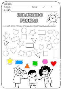 Atividade pronta - Formas Grade R Worksheets, Kindergarten Math Worksheets, Preschool Curriculum, Preschool Activities, Shape Books, Math For Kids, Kids Education, Pre School, Kids Learning