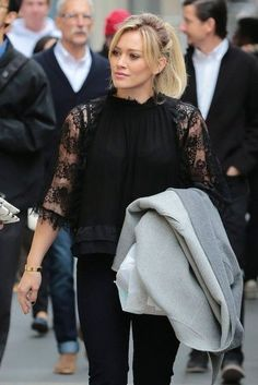 Hilary Duff Films 'Younger' in NYC - Hilary Duff wears a beautiful black lace three-quarter sleeve top. Get more style inspiration on Yo - Hilary Duff Style, Office Looks, Work Fashion, Steampunk Fashion, Gothic Fashion, The Duff, Dress To Impress, Portrait, Celebrity Style
