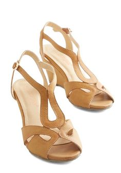 72f0582a10a0 Give it a Swirl Heel. Venture into stylish new territory in these charming  tan wedges