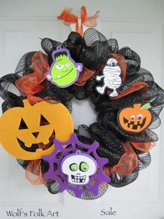Hey, I found this really awesome Etsy listing at https://www.etsy.com/listing/108535148/halloween-fun-mesh-wreath-sale