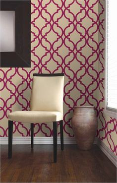 pink and white decor idea with a modern wallpaper feature wall