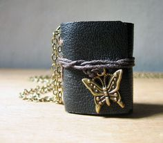 book necklace jewelry mini journal necklace leather journal with butterfly charm hand stitched journal book pendant charm miniature book